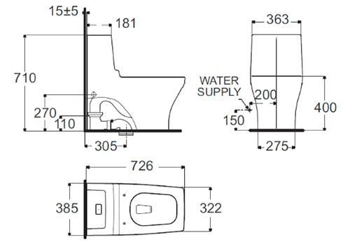 Bồn Cầu Một Khối American Standard 2060-WT Dòng Nobile