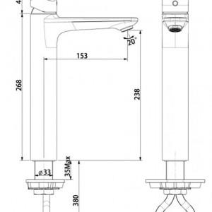 Vòi Chậu Rửa Mặt Lavabo American Standard WF-0703 Nóng Lạnh Cổ Cao