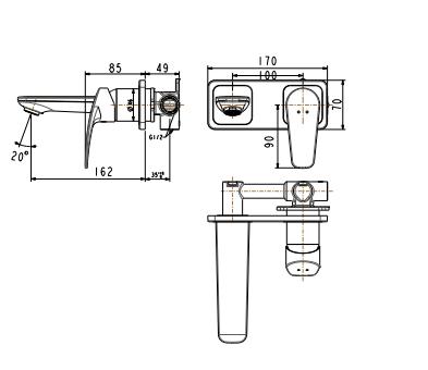 Vòi Chậu Rửa mặt Lavabo American Standard WF-0904 Âm Tường