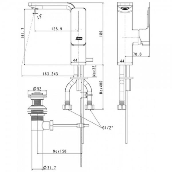 Vòi Chậu Rửa Mặt Lavabo American Standard WF-1305 Nóng Lạnh 1 Lỗ