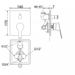 Vòi Sen Tắm American Standard WF-1420 Âm Tường