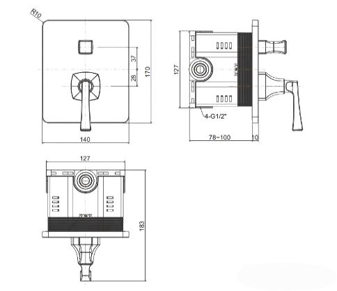 Vòi Sen Tắm American Standard Ventuno WF-1621 Âm Tường
