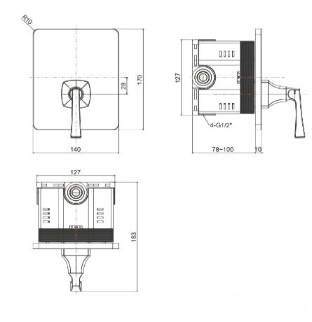 Vòi Sen Tắm American Standard Ventuno WF-1622 Âm Tường