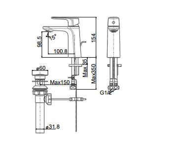Vòi chậu Lavabo American Standard WF-1701 Nóng Lạnh 1 Lỗ