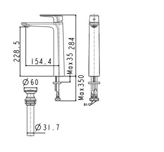 Vòi chậu Lavabo American Standard WF-1702 Nóng Lạnh Cổ Cao