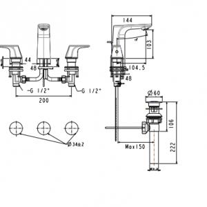 Vòi Chậu Rửa Mặt Lavabo American Standard WF-1703 Nóng Lạnh 3 Lỗ