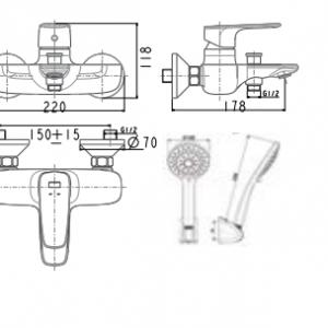 Vòi Sen Tắm American Standard WF-1711 Nóng Lạnh