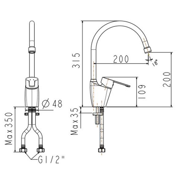 Vòi Bếp Nóng Lạnh American Standard WF-5623