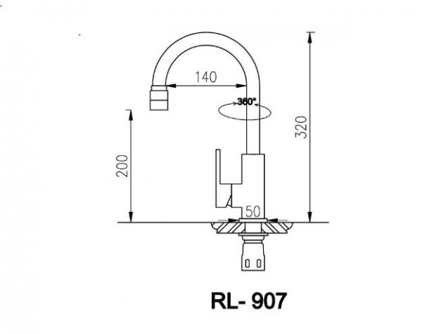 Bản Vẽ Kỹ Thuật Vòi Chậu Rửa Bát Roslerer RL-907